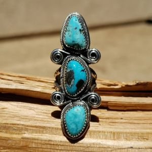 NEW Navajo Turquoise Sterling Silver Ring Sz 9